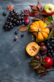 Herbstobst und gemüse -auf hölzernem Hintergrund Lizenzfreie Stockfotos