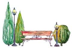 Herbstpark mit Bank Laterne und thujas Lizenzfreies Stockbild