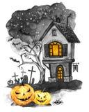 Herbstpark mit kleiner Brücke Altes Haus, Kirchhof und Feiertagskürbise Halloween-Feiertagsillustration Magie, Symbol des Horrors stock abbildung