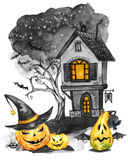 Herbstpark mit kleiner Brücke Altes Haus, Kirchhof und Feiertagskürbise Halloween-Feiertagsillustration Magie, Symbol des Horrors vektor abbildung
