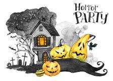 Herbstpark mit kleiner Brücke Altes Haus, Kirchhof und Feiertagskürbise Halloween-Feiertagsillustration Magie, Symbol des Horrors lizenzfreie abbildung