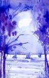 Herbstpark mit kleiner Brücke Winternacht im Dorf unter den Bäumen im Mondschein lizenzfreie abbildung