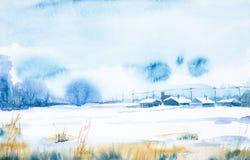Herbstpark mit kleiner Br?cke Gefrorener Tag des Winters im russischen Dorf lizenzfreie abbildung