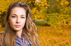 Herbstpark und ein schöner Brunette. Stockbild