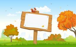 Herbstparkschild stock abbildung
