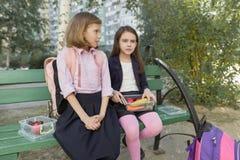 Herbstporträt von Kindern mit Brotdosen, Schulrucksäcke lizenzfreie stockbilder