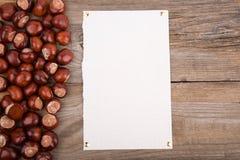 Herbstrahmen von der Kastanie Lizenzfreies Stockfoto