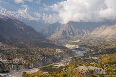 Herbstsaison in Hunza-Tal, Gilgit Baltistan, Pakistan lizenzfreies stockbild