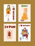 Herbstschablonen Vector Design für Karte, Plakat, Flieger, Netz, Abdeckung, Tag, Einladung, Aufkleberausrüstung lizenzfreie abbildung