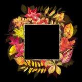Herbstschablonenhintergrund Saisonillustrationen Netzfahnenschablone Dekoratives Bild einer Flugwesenschwalbe ein Blatt Papier in Lizenzfreie Stockfotografie