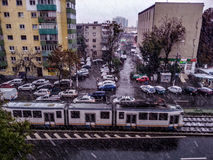 Herbstschnee in Bukarest Stockfoto