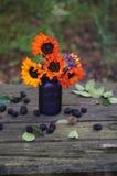 Herbstsonnenblumenblumenstrauß Lizenzfreies Stockbild