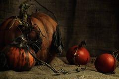 Herbststillleben auf einem aus Weiden geflochtenen braunen Hintergrund stockfotografie