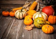 Herbststillleben mit Kürbisen und Blättern Lizenzfreies Stockfoto