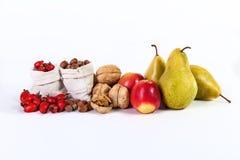 Herbststillleben von nuts Hagebutten der Fruchtapfel-Birnen lokalisierte O Lizenzfreie Stockfotos