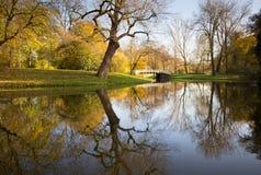 Herbstszene in einem niederländischen Park Stockfotografie