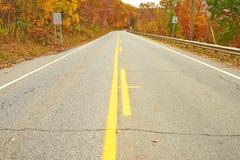 Herbstszene mit Straße Stockfotos