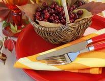 Herbsttabelleneinstellung Lizenzfreies Stockfoto