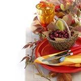 Herbsttabelleneinstellung Stockfotos