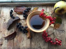 Herbsttee auf einem rustikalen Hintergrund Stockbilder