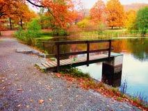 Herbstteich und -schleusentor Stockfotos