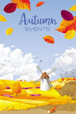 Herbstvektor-Landschaftsfahne Stockfotografie