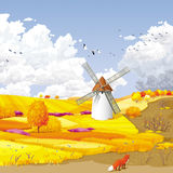 Herbstvektorlandschaft Lizenzfreie Stockfotografie