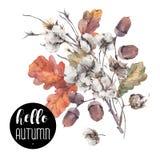 Herbstvektorweinlese-Baumwollblume Stockfoto
