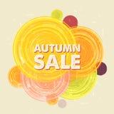Herbstverkauf mit Kreisen, Schmutz gezeichneter Aufkleber Stockbilder