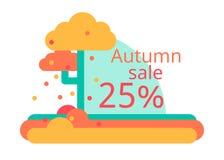 Herbstverkauf von 25 Flaches Design des Vektors Aufkleber- oder Fliegerrabatte Stockbilder