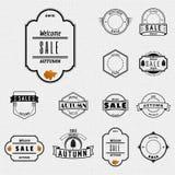 Herbstverkauf wird Logos und Aufkleber für irgendwelche Gebrauch deutlich Stockfoto