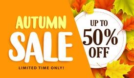 Herbstverkaufs-Fahnendesign mit Rabattaufkleber im bunten Herbstlaub lizenzfreie abbildung