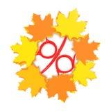 Herbstverkaufs-Jahreszeitkonzept mit Prozentzeichen Stockfotos