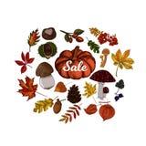 Herbstverkaufs-Vektorillustration Stockfotos