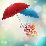 Herbstverkaufsaufkleber mit Regenschirmen ENV 10 Lizenzfreies Stockfoto