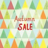 Herbstverkaufsfahne mit Bäumen in der abstrakten Art Stockfotos