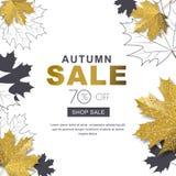 Herbstverkaufsfahne mit Herbstlaub der Art 3d Gold- und Entwurfsahorn Goldener Hintergrund des Vektorfall-Plakats Lizenzfreie Stockfotos