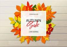 Herbstverkaufsplakat mit Fall verlässt auf hölzernen Hintergründen Vector Illustration für Website und bewegliche Websitefahnen lizenzfreie abbildung