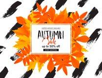 Herbstverkaufsplakat mit Fallblättern Vector Illustration für Website und Fahnen, Poster, Newsletterdesigne, Anzeigen lizenzfreie abbildung