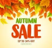 Herbstverkaufstextvektor-Fahnendesign mit bunter Herbstsaison lässt das Fallen Lizenzfreie Stockfotografie