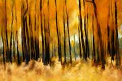 Herbstwaldölgemälde lizenzfreie abbildung