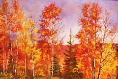Herbstwald, Ölgemälde. Lizenzfreie Stockfotos