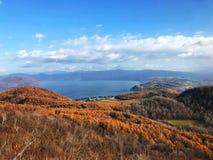 Herbstwald und der See lizenzfreie stockbilder