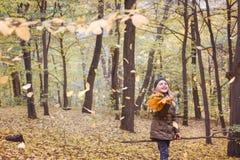 Herbstwaldherbststimmung Kleines Mädchen mit einem Blumenstrauß des Herbstes lizenzfreies stockbild
