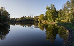 Herbstwaldreflexion im Wasser lizenzfreie stockfotografie