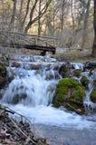 Herbstwasserfall in Europa - Waldlandschaft mit einer kleinen Brücke lizenzfreie stockfotografie