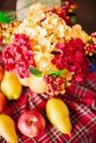 Herbstzusammensetzung eines Kürbises mit Blumen Lizenzfreies Stockfoto