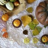 Herbstzusammensetzung von Kürbisen, die Herzen, die vom Filz, Strohhut gemacht werden, verlässt lizenzfreies stockbild