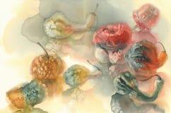 Herbstzusammensetzungskürbise, Handaquarell gemalt Lizenzfreie Stockfotografie
