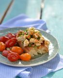 Herby tofu scramble. Bruschetta with herby tofu scramble,and grilled  cherry tomatoes Royalty Free Stock Photography